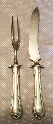Antique Sterling Silver Monogrammed Carving Knife & Fork w/footed stand