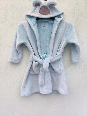 Kids Hooded Dressing Gown Age 3-4 Years From Yd At Primark Pale Blue With Detail