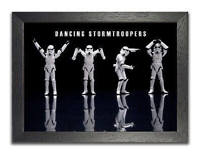 Stormtrooper Dancing Star Wars Poster Black White Funny Photo Space Opera Sky