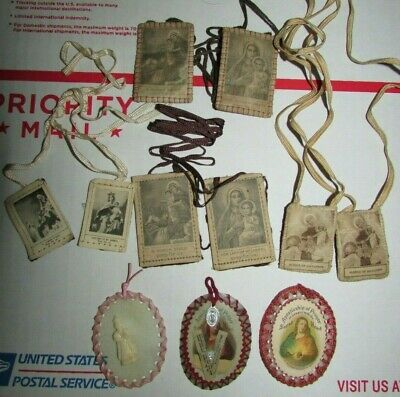 Vintage Lot of Catholic Devotional Scapular & Apostleship of Prayer Sacred Heart