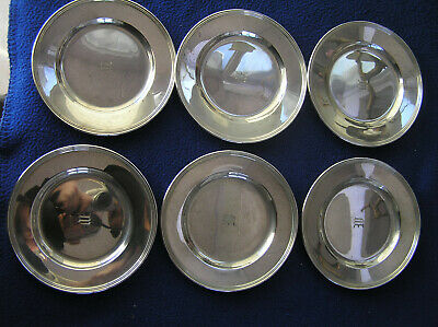 Six sterling silver bread and butter plates by International 567g