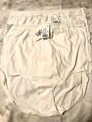 2 Pair Christies White Cotton Panties Briefs Plus Sz 12 Vintage & NWT