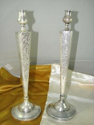 """Sterling Silver Pair Candlesticks Holders Shabat Candle Holders ,10""""inc"""
