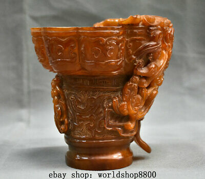 """6"""" Marked Old Chinese Ox Horn Carving Palace Dragon Head Drinking Cup"""