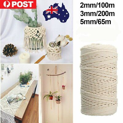 2/3/5mm Macrame Rope Natural Beige Cotton Twisted Cord Artisan Hand Craft GR