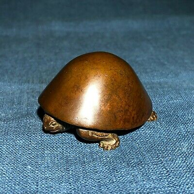 Chinese Antique Old Pure Solid Copper Handwork Mushroom Turtle Ornament Statue
