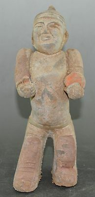 China Old Clay Burn Pottery Tomb Bury Musician Play Instrument Statue 2
