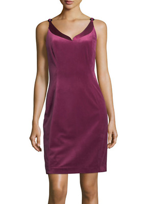 Elie Tahari Rena Velvet Sheath Dress Deep Magenta NWT $348