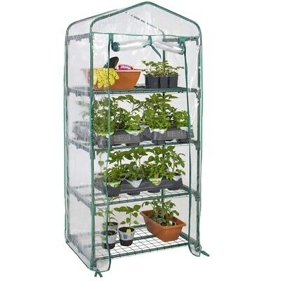 4 Tier Mini Greenhouse PVC Plastic Garden Plants Grow Steel Frame Green House