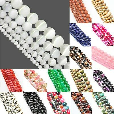 "15"" Long 4mm 6mm 8mm 10mm 12mm Natural Quartz Gemstone Round Spacer Stone Beads"