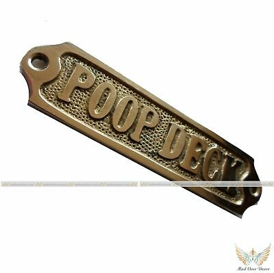 "Brass Engrave ""Poop Deck"" Door Sign Nautical Home Office Wall Decorative Plaque"