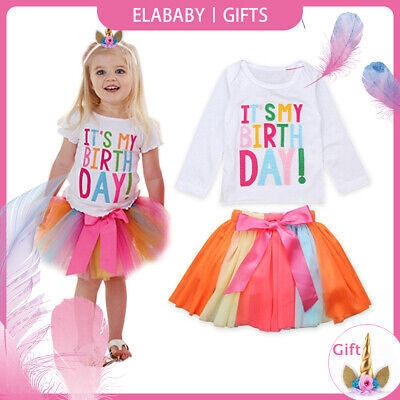 It's My Birthday Baby Girls Outfit Tutu Tulle Skirt Colorful Party Dress Costume