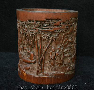 "8.8""Antique Chinese Bamboo Root Hand Carved Old Man People Brush Pot Pencil Vase"