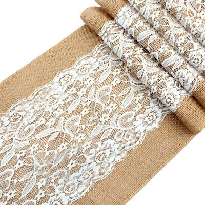 10x Natural Burlap Table Runner Lace Jute Linen Table Runner for Wedding Decor