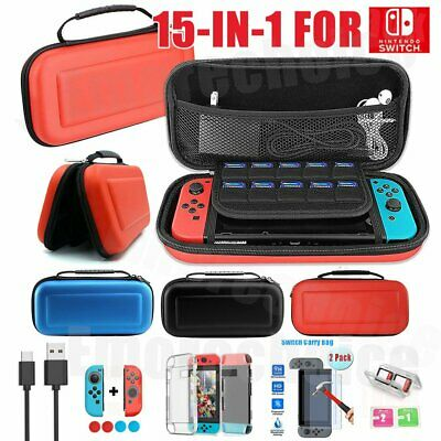 15-IN-1 Travel Case Bag For Nintendo Switch+Screen Protector+Cover Accessories