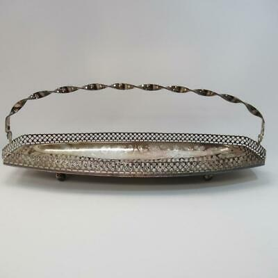 """Vintage Metal Tray with Swing Handle, Gallery Edge and Decorative Engraving, 15"""""""