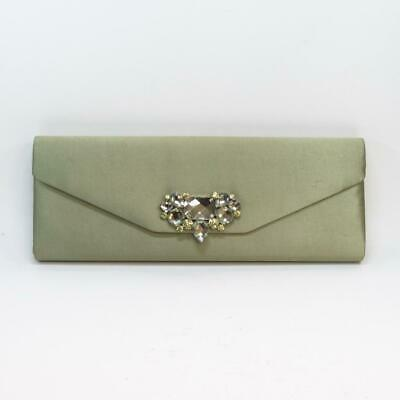Phase Eight Sage Green Diamante Detail Clutch Bag Purse Handbag, Barely Used