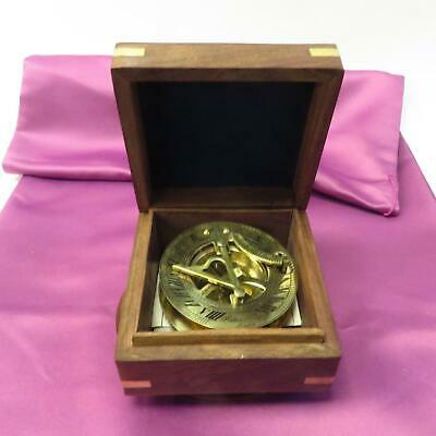 Past Times Solid Brass Sundial and Compass in Wood Presentation Box