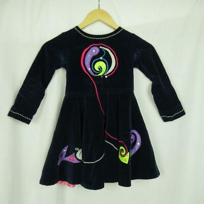 Girl's Irish Dancing Dress Navy Embroidered Tailor Made in Ireland Est 3-4 yrs