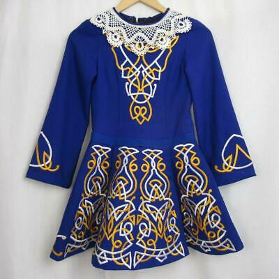 Girl's Irish Dancing Dress Blue Yellow White Tailor Made in Ireland Est 8-9 yrs