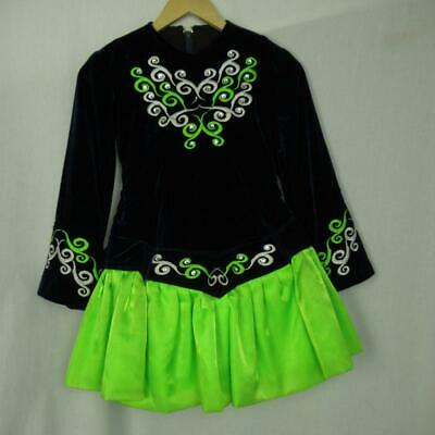 Girl's Irish Dancing Dress Navy Neon Green Cape Tailor Made Ireland Est 9-10 yrs