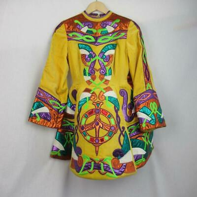 Girls Irish Dancing Dress Yellow Embroidered Tailor Made Ireland Est 13-14 yrs