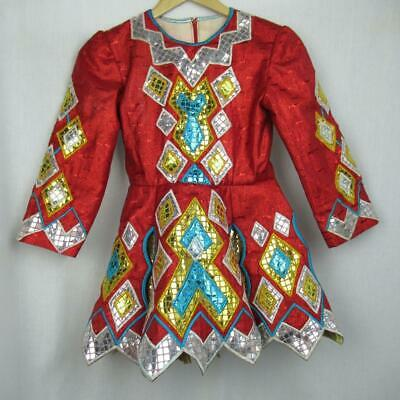 Girls Irish Dancing Dress Red Shiny Embroidered Tailor Made Ireland Est 8-9 yrs