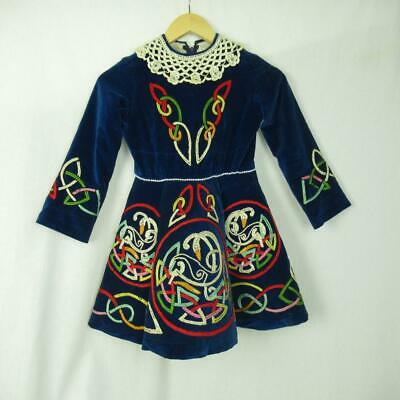 Girls Irish Dancing Dress Navy Lace Embroidered Tailor Made Ireland Est 9-10 yrs