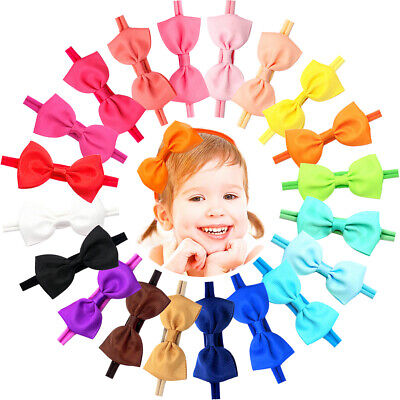 "20Pcs Baby Girl Headbands With Bow 3"" Hair Bow Slim hair Band for Newborn infant"