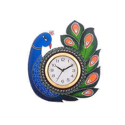 Wooden Wall Clock Vintage Retro Christmas New Year Antique Peacock Home Décor