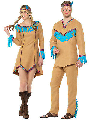 Mens Ladies Native American Warrior Costume Fancy Dress Pocahontas Indian Outfit