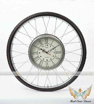 Vintage Nautical Retro Industrial Smith London Bicycle Wheel Round Wall Clock