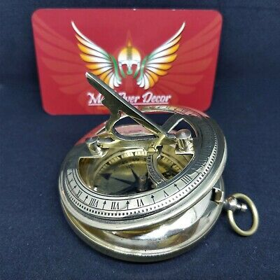 Vintage Brass Marine Stanley London Antique Style Sundial Direction Gift Compass
