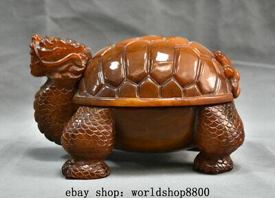 """8"""" Old Chinese Natural Ox Horn Hand-Carved Palace Dragon tortoise Turtle Statue"""