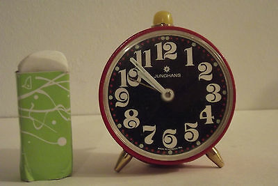 Antique Clock Vintage 1970 Junghans Red Clock Mechanical Deco Design Clock