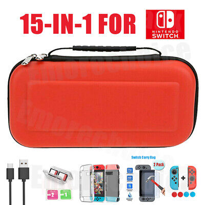 Hard Travel Case Bag For Nintendo Switch+Cover+Screen Protector Accessories Red