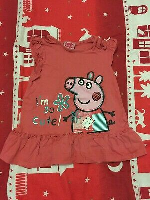 Girls Peppa Pig T-shirt 3-4 Years Pink I'm So Cute Frill At The Bottom Top