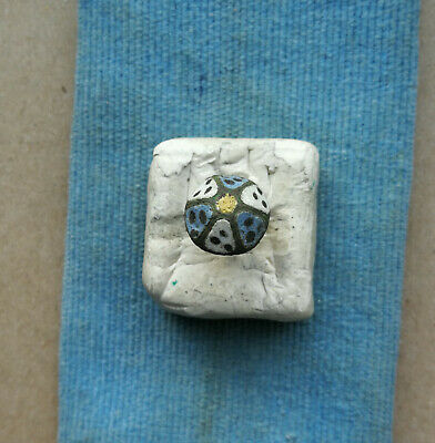 Ancient enamel bronze button jewelry Kievan Rus Vikings 10-12 AD Very Rare Color