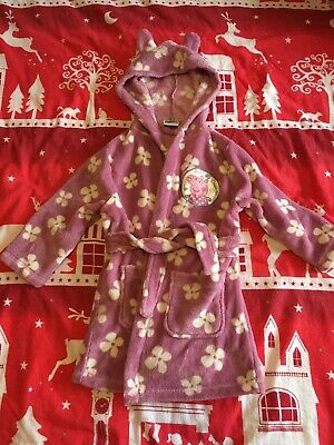 Girls Peppa Pig Dressing Gown 3-4 Years Hooded Pink Super Soft