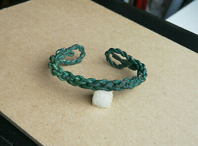 Authentic Ancient Scythian Bronze Bracelet Spiral Twisted Very Rare Green Patina