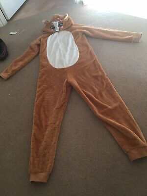Girls Reindeer Hooded All-in-one Pyjamas Age 12-13 By Asda In VGC