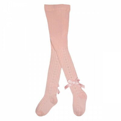 Pex Girls Bow Diamante Heart Spanish Tights Cotton Rich Pink White Ivory NB-3Y