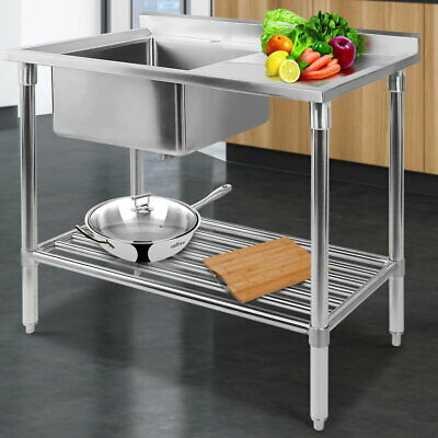 Sink Kitchen Bench Stainless Steel Single Commercial Bowl Adjustable 100 x 60 cm