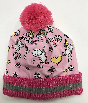 Despicable Me Girls Minions Unicorns I Love Them Pink Beanie Hat (3-6 Years)