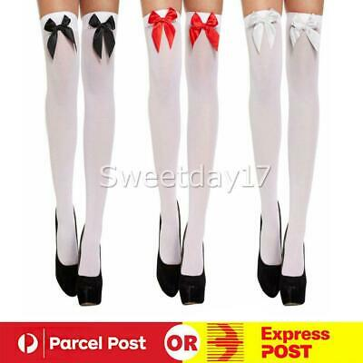 Ladies White Black Thigh High Costume Stockings Bows Womens Tights Christmas NEW