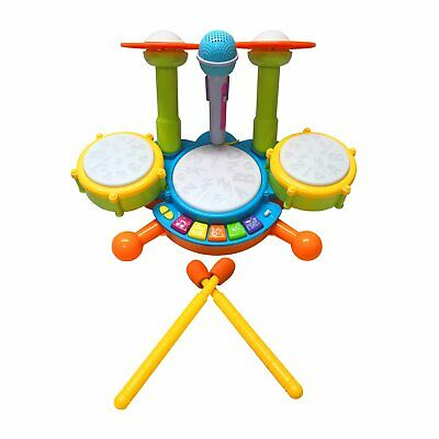 NEW! Kids Toy Musical Drum Kit Machine and Microphone Set with Lights and Sound