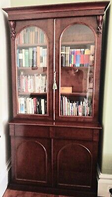 Antique Victorian glazed bookcase dresser