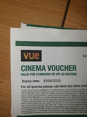 2 X Vue Cinema tickets from Lloyds bank expiry 30/06/2020