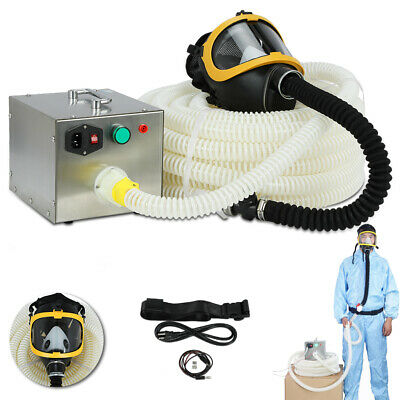 Supplied Fresh Air Respirator System Full Face Gas Mask 110-240V