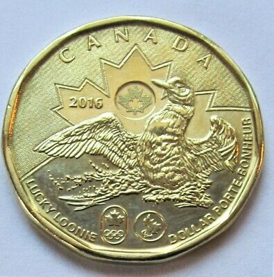 FOR RIO BRAZIL SUMMER OLYMPICS 2016 CANADA OLYMPIC LUCKY LOONIE $1 COIN UNC